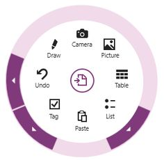 Use radial menus to display commands in OneNote for Windows 8