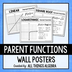 Parent Function Posters for Algebra 2 - Parent Function Posters for Algebra 2 This is a set of nine parent function posters to display in y - Two Step Equations, Algebra Equations, Algebra 1, Algebra 2 Activities, Math Resources, Absolute Value, Classroom Posters, Classroom Ideas, Secondary Math