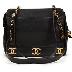 Pre-Owned Chanel Black Caviar Leather Vintage Timeless Shoulder Bag (119,470 DOP) ❤ liked on Polyvore featuring bags, handbags, shoulder bags and black