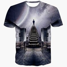 92621c4b Slimming 3D Cartoon Gray Sky Scenery Print Round Neck Short Sleeves Men's  Black T-Shirt