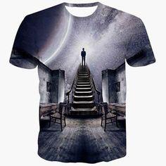 92621c4b Slimming 3D Cartoon Gray Sky Scenery Print Round Neck Short Sleeves Men's  Black T-Shirt