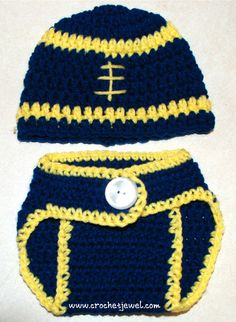 Crochet Baby 0- 3 Months Football Hat and Diaper Cover, Michigan colors, http://crochetjewel.com/?p=13295