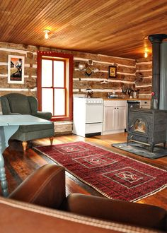 Tour of charmingly restored 19th century Trout River Log Cabin, vacation rental in Iowa — via Small House Swoon