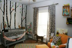 Tucker's Nursery with AWESOME woodland decals and Babyletto Hudson 3-in-1 Convertible Crib