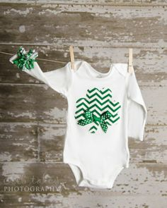 St. Patrick's Day Girl Shamrock shirt or bodysuit size newborn  #st #patricks #decor #ideas www.loveitsomuch.com