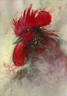 """Rhode Island Red - Best of Breed""  gouache, acrylic, ink, watercolor & charcoal.  By John Lovett"