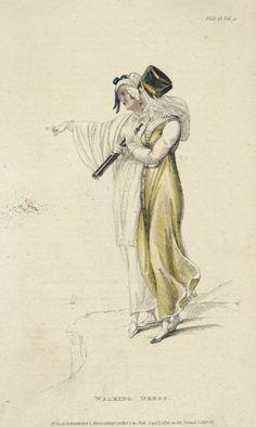 September walking dresses, 1810 England, Ackermann's Repository