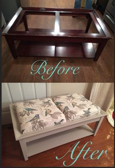Broken glass coffee table to upholstered ottoman and chalk paint Refurbished Coffee Tables, Refurbished Furniture, Recycled Furniture, Painted Furniture, Coffee Table Upcycle, Coffee Table Makeover, Coffee Table To Ottoman, Glass Top Coffee Table, Diy Furniture Projects