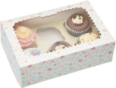 Cupcake boxes with pretty floral teatime design, perfect for holding and displaying your cupcakes and muffins.  Present cupcakes, fairy cakes and muffins in a decorative box with an insert to hold up to six cakes.  Large acetate window to view contents.  Size: 24.5cm x 16.5cm x 7.5cm  Pack of 2.