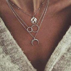 docona Bohemian Wave Pendant Necklace for Women Girl Metal Sea Surfer Layered Ne