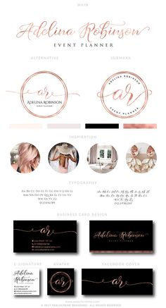 Rose Gold Logo Design Rose Gold Branding Package Business