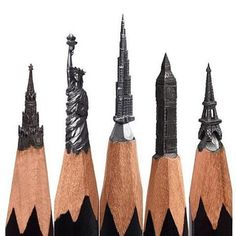 Landmarks pencil carvings - Artwork by: @salavat.fidai Tag #ArtPostDaily to be featured!