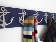 5 anchor wall hooks sailor boat cabin beach decor by riricreations, $50.00