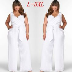 b798583df21 White Jumpsuit Pleated Sexy Elegant Chiffon V-neck Sleeveless Women Playsuit  Plus Size (Without
