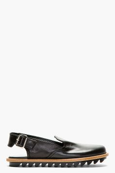 CHRISTIAN DADA Black Leather Shark Sole Sandals