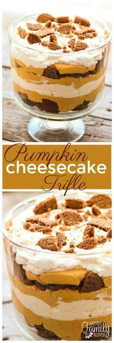 This Pumpkin Cheesecake Trifle is smooth and creamy, and it takes less than 30 minutes to make! It is the perfect pumpkin dessert for the fall. via @favfamilyrecipz