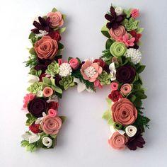 Full Floral Felt letter initial monogram