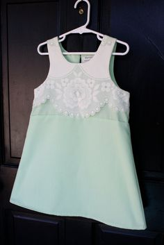 Vintage lace over mint cotton little girl dress / RosieAndPepe