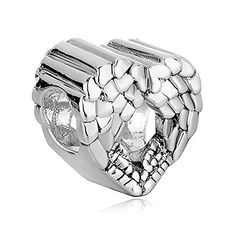a46212f09 Grenf Silver Plated Angel Wing Charms Heart European Bead For Bracelet Pandora  Charms, Pandora Bracelets