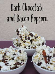 Dark Chocolate and Bacon Popcorn  It was one of those days where we needed a sweet snack and I didn't have anything prepared. I was running behind like usual, but it was the weekend, the game was on, my kids were running amok and we needed something sweet and salty to snack on. This Dark Chocolate and Bacon Popcorn is a decadent treat with dark chocolate drizzled on top of popcorn and spicy and sweet seasoned bacon.