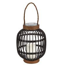 canvas black rope solar powered lantern is constructed from plastic suitable for outdoor use - Solar Powered Lanterns