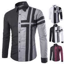 Cheap shirt sticker, Buy Quality sleeve bag directly from China shirt underwear Suppliers: Men Slim Fit Fashion Cross Color Patchwork Casual Long Sleeve Lapel Shirt Casual Shirts For Men, Men Casual, Mens Designer Shirts, African Shirts, Well Dressed Men, Pullover, Shirt Sleeves, Fitness Fashion, Shirt Style