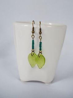 Beautiful Long Drop Earrings with Pale Olive by FreeRangeLondon, £7.00