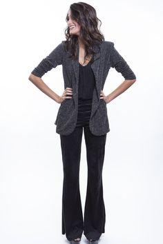 Blazer Metaliz + Calça Suede + Camiseta preta  http://mhostore.com/