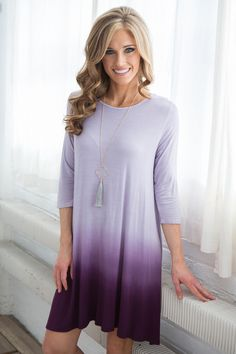 Shop our Soft and stretchy 3/4 sleeve t-shirt dress with boho babe ombre pattern. Free shipping on US orders $50 & up!