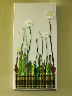 Daisy Art DIY from Crayons