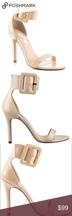 •NEW GUESS HEELS• Nude/Cream Buckle Strappy Heel• Brand new only worn once on Prom night a few years ago! New with box. Size 8. Bought for $110 at Macy's. GUESS Shoes Heels