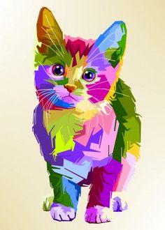adorable cat on pop art Pop Art Poster Print Arte Pop, Pop Art Posters, Poster Prints, Animal Paintings, Animal Drawings, Illustration Pop Art, Rainbow Art, Animal Wallpaper, Pop Art Wallpaper