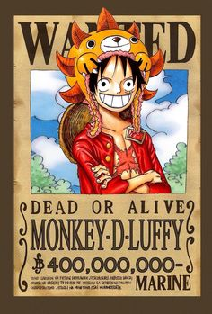 Luffy - New World Wanted Poster (One Piece) One Piece Anime, Anime One, I Love Anime, Awesome Anime, Manga Anime, Mugiwara No Luffy, Hokusai, Accel World, One Piece Pictures