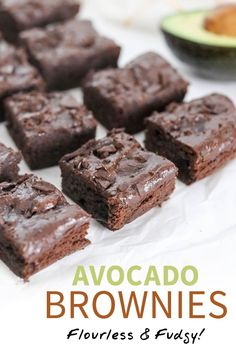These Avocado Brownies are an easy healthy recipe made with avocado instead of butter or oil They are gluten-free and dairy-free with a fudgy texture Includes suggestions to make them keto or vegan friendly avocado brownies healthy glutenfree Avocado Dessert, Paleo Dessert, Healthy Dessert Recipes, Baking Recipes, Healthy Avocado Recipes, Zone Recipes, Keto Avocado, Healthy Deserts, Healthy Sweets