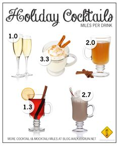 Number of miles you'll need to run to burn off your favorite holiday drink (alcoholic and non) Hahahaha if that's the case. Then good thing I run 5 miles! Drinks Alcohol Recipes, Alcoholic Drinks, Beverages, Holiday Cocktails, Holiday Desserts, New Years Cocktails, Cocktail And Mocktail, Holidays And Events, Favorite Holiday
