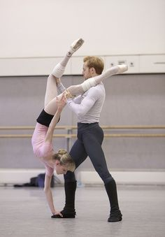 Sarah Lamb and Steven Mcrae of The Royal Ballet rehearsing Trespass…