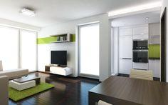 Sádrokartonový podhled v kuchyni je směrem do obývacího pokoje zakončen světelnou rampou, která poskytuje intimní osvětlení. Na nábytku v obývacím pokoji se opakuje prvek tmavě hnědého dekoru svírajícího bílý kvádr.