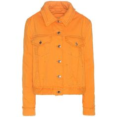 Acne Studios Gianna Padded Denim Jacket ($535) ❤ liked on Polyvore featuring outerwear, jackets, orange, acne studios, orange jean jacket, padded jacket, denim jacket and orange jacket