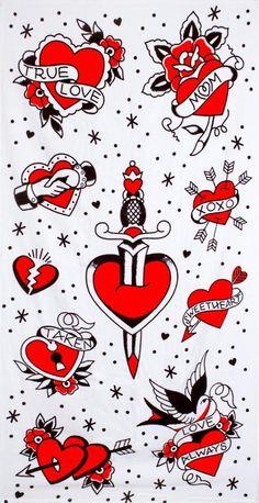 www.brokencherry.com #rocknroll #sourpuss #rockabilly #towel #beach #tattoo #hearts  Tattooed Hearts Beach Towel  $17.00