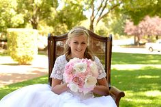 Custom Bridal Bouquet 12 Pink  Ivory and by FeatherRiverBoutique, $300.00