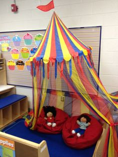 "Circus theme | Preschool Themes-yes! Just what I was looking for- a ""big top"" idea for our reading area! ~T"