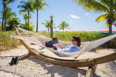 Picture of Young man using laptop on the beach stock photo, images and stock photography. Lombok, The More You Know, The Office, Young Man, Travel Pictures, To Go, Laptop, Stock Photos, Vacation