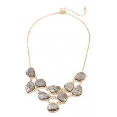 Metallic Silver Druzy Stone Link Bib Necklace