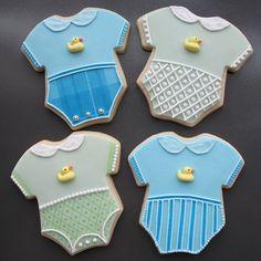 Baby onesie cookies.
