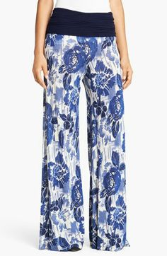 Jean Paul Gaultier Rose Print Jersey Palazzo Pants | Nordstrom