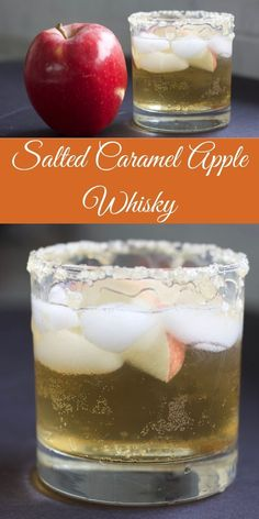 Crown Royal Apple Salted Caramel Whiskey Drink This delicious cocktail is made with Crown Royal Apple, and Black Velvet Caramel Whiskey. The sweet taste of apple cider and cozy cold weather drinks resonate strongly with this whiskey mixed drink. Fall Mixed Drinks, Whiskey Mixed Drinks, Winter Drinks, Bourbon Drinks, Whiskey Sour, Apple Whiskey, Scotch Whiskey, Hot Toddy, Black Velvet