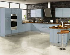 Welford Sky Blue / Luca Gloss Sky Blue Kitchens - Buy Welford Sky Blue / Luca Gloss Sky Blue Kitchen Units at Trade Prices