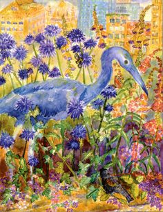 This is a watercolor card called Little Blue Heron in Lurie Garden, it's one of four notecards and they each come with an envelope. The additional cards in this set are called: Butterfly and Clematis, Fall Wildflowers at Heller, and Nene Hawaiian Endangered Goose. Each of these cards are available as a group of four or as and individual card. View more of my cards in my Etsy Shop: MichelleKoganFineArt.etsy.com