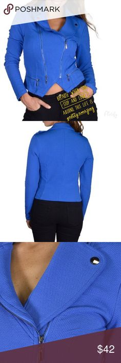 Plus size Bomber jacket Gorgeous soft biker jacket in blue . 95% polyester 5%elastane , Jackets & Coats
