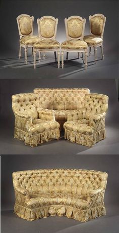 A NAPOLEON III YELLOW FLORAL DAMASK UPHOLSTERED SALON SUITE